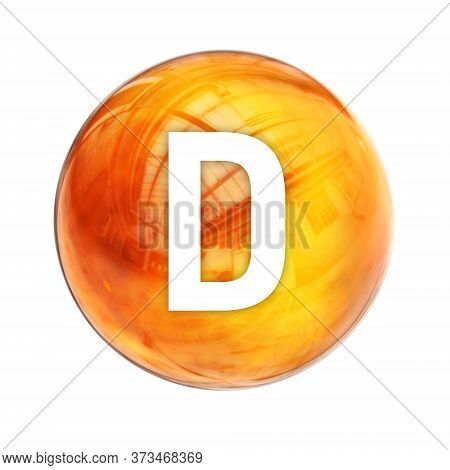 Vitamin D3 Sphere Molecule For Healthcare Medical Pharmacy. Shining Symbol Of Vitamin D3. Vitamin Ic