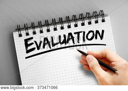 Evaluation Text On Notepad, Business Concept Background