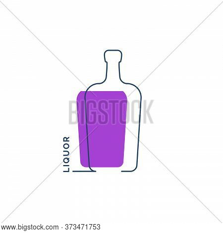 Bottle Continuous Line Liquor In Linear Style On White Background. Black Thin Outline And Color Fill