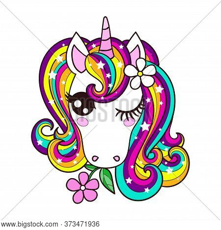 The Head Of A Unicorn With A Rainbow Mane. Childrens, Cartoon Illustration. Vector