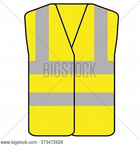 Yellow Hi Vis Safety Vest Icon Vector