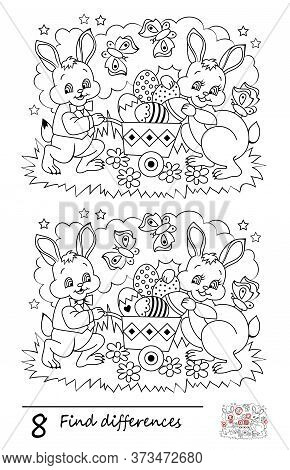 Find 8 Differences. Logic Puzzle Game For Children And Adults. Black And White Printable Page For Ki