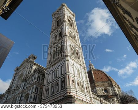 Facade And Steeple And Dome Of Florence Cathedral In Florence, Italy