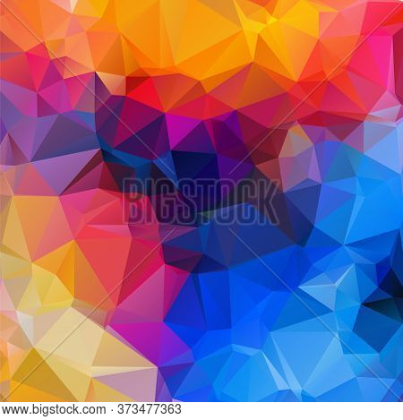 Abstract Multi Colored Polygon, Low Polygon Background. Transfusion Of Color. All The Colors Of The