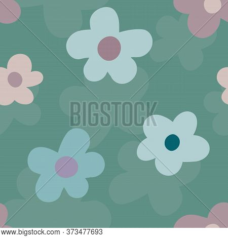 Wild Meadow Flowers Seamless Vector Pattern Background. Pink And Teal Large Florals On Textured Back