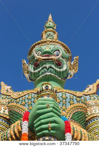 Green Guardian Statue At The Temple Of Dawn, Thailand