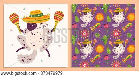 Mexico Holiday. Little Cute Chinchillas In Sombrero With Maracas, Cactus, Sun, Pinata, Flower And Fl