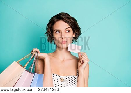 Closeup Photo Of Pretty Lady Hold Wireless Payment Prime Bonus Card Many Store Packs Look Empty Spac