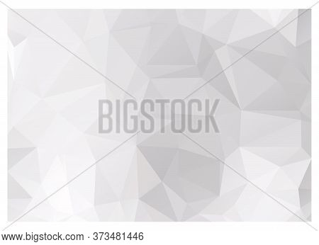 White Low Poly Background, Gray Polygon Wallpaper. Triangle Vector Illustration. Diamond Or Ice Stru