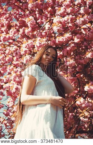 Spring Fashion Collection. Sakura Tree Blooming. Gorgeous Flower And Female Beauty. Woman Fancy In S