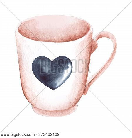 Watercolor Image Of Soft Pink Single Cup Isolated On White Background. Hand Drawn Illustration Of Ni