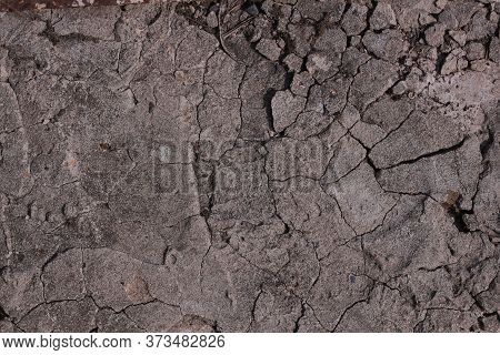Texture Of The Ground Surface With Cracks, Cracks Of Dry Land Without Water. Global Warming, Soil Ru