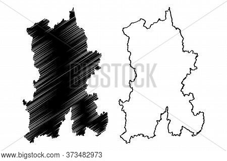 Kunming City (people's Republic Of China, Yunnan Province) Map Vector Illustration, Scribble Sketch