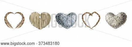 Heart Shape And Form Natural Materials Watercolor Illustration Set. Feather, Wood, Stone, Vine Heart