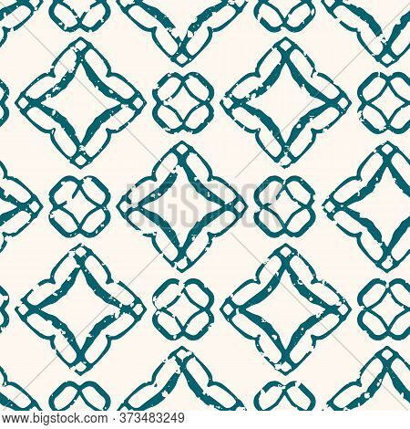 Moroccan Trellis Seamless Vector Pattern Background. Painterly Hand Drawn Shapes Teal And White Back