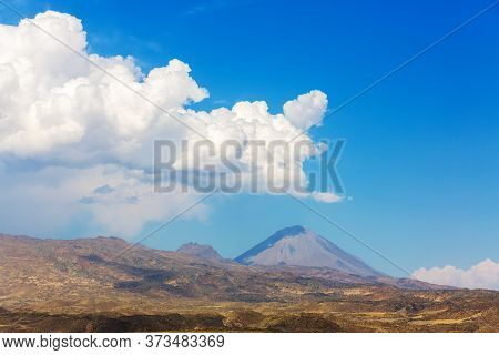 Panoramic View Little Ararat Mount In Clear Weather. Rocky Mountain Slopes. Lava Stones And Desert N