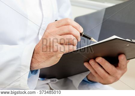 Hygiene inspector when working with clipboard