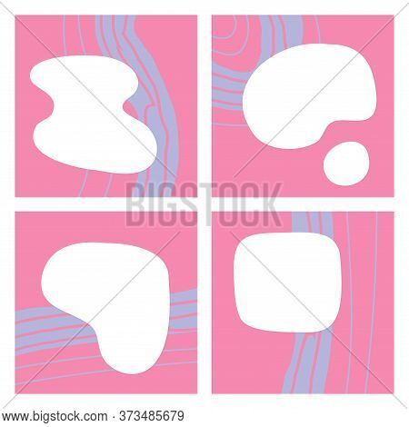 A Set Of Four Square Pink Backgrounds With Space For Text. Chaotic Purple Smears On A Pink Backgroun