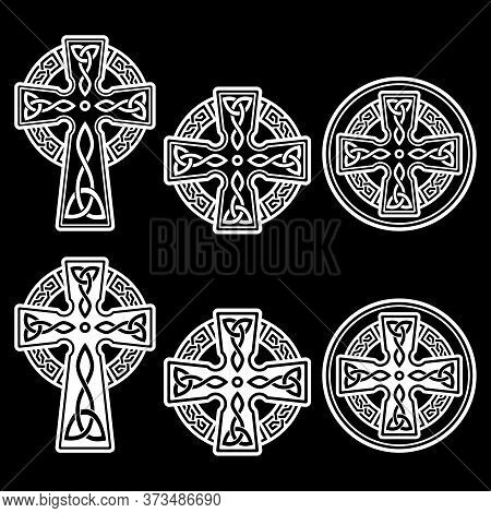 Celtic Irish Cross Vector Design Set - St Patrick's Day Celebration In Ireland In Black On White Bac