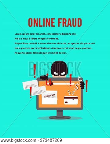 A Computer Hacker Who Steals Money And Personal Data On The Internet. The Concept Of Phishing, Hacke