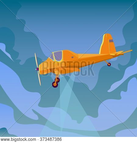 Airplane Flying In Sky.jet Plane Fly In Clouds, Airplanes Travel And Vacation Aircraft. Aerial Flat