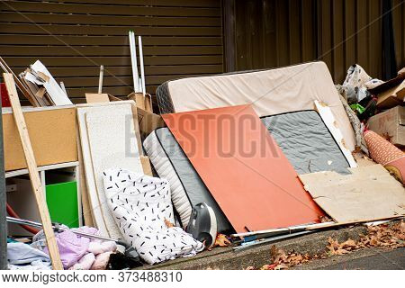 Household Miscellaneous Rubbish Items Put On Curbside For Council Bulky Waste Collection