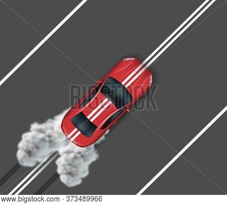 Top View Of Sports Car On Asphalt Road. Red Auto Driving On The Median Strip