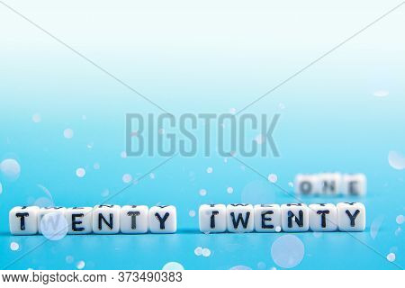 2021 Happy New Year Dice Word Text On Blue Background, Leave Space For Display Of Product For Promot
