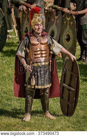 Roman Legionnairy During The Festival Roman Apulum
