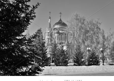 Omsk, Russia - January 31, 2017: Uspenski Cathedral, Omsk, Siberian Region, Russia