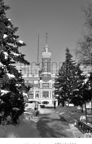 Omsk, Russia - January 31, 2017: View Of The Fire Tower Of The Park Named After Pavlik Morozov, Omsk