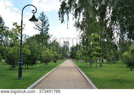 Omsk, Russia - Jule 24, 2017: Square Named After Dzerzhinsky
