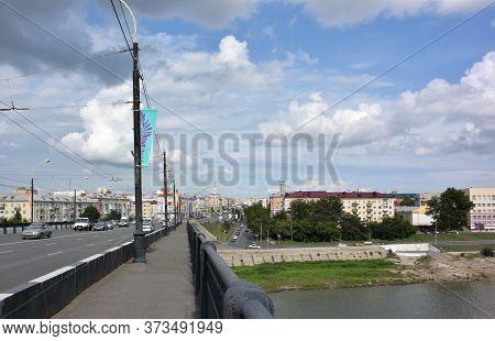 Omsk, Russia - Jule 30, 2016: Leningrad Bridge Over The Irtysh River