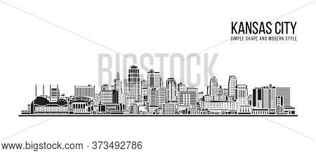 Cityscape Building Abstract Simple Shape And Modern Style Art Vector Design - Kansas City