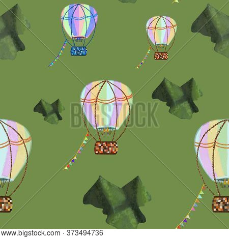 Colorful Hot Air Balloons Flying Across Green Mountains On Green Background. Seamless Pattern. Stati