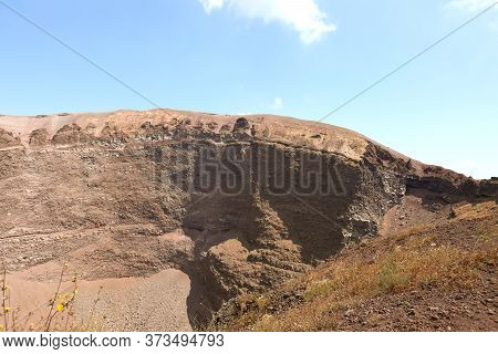 Large Crater Of The Dormant Vesuvius Volcano Near The City Of Naples