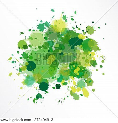 Vector Illustration Of Green Background  In Grunge Style