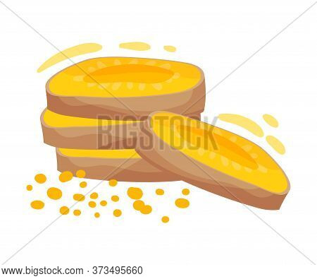 Pile Of Sliced Turmeric Rhizome Isolated On White Background Vector Illustration