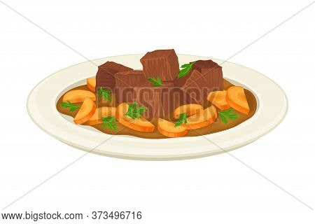 Uzbek Traditional Dish Of Meat Slabs And Vegetable Side View Vector Illustration