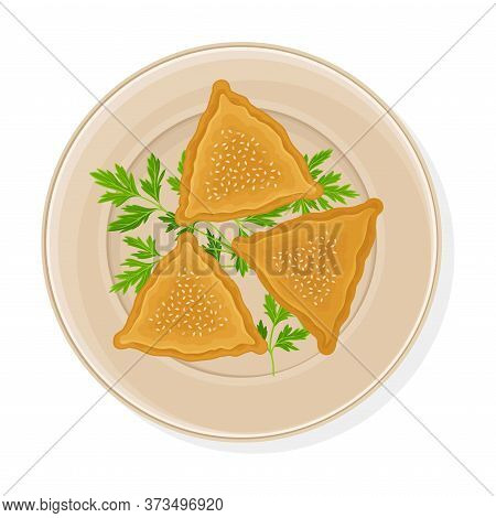Cooked Dumplings Served On Plate With Greenery Top View Vector Illustration