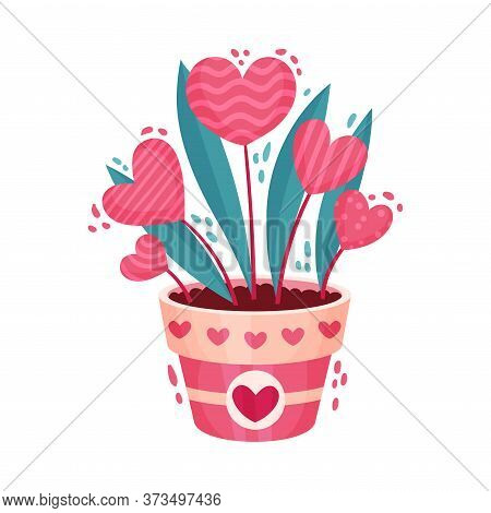 Fancy Heart Shaped Flowers In Flowerpot As Saint Valentine Day Symbol Vector Illustration