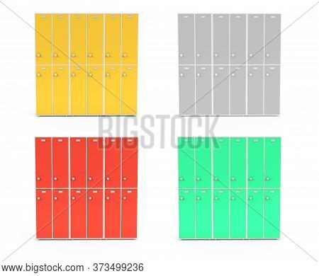 Lockers With Closed Doors. Two Row Section Of Colored Lockers For Schoool Or Gym. 3d Rendering Illus