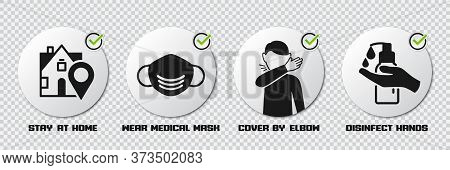 Preventive Measures Icons For Not Getting Sick And Not Spreading Virus. Stay At Home, Wear Mask, Cov