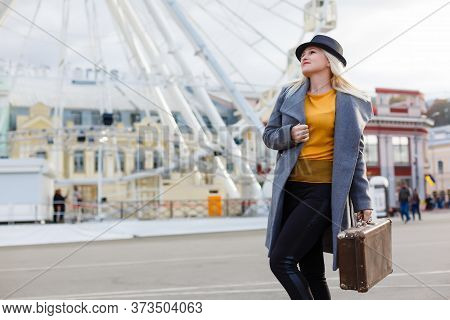 Autumn, Fashion, People Concept - Close Up Of Woman With Brown Retro Suitcase Walking