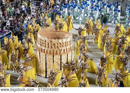 Rio, Brazil - February 24, 2020: Parade Of The Samba School Unidos Da Tijuca, At The Marques De Sapu