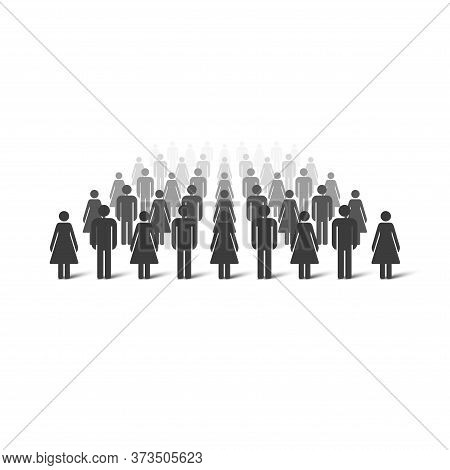 Crowd To The Horizon Dissolving Away. Crowd Perspective. Men And Women Simple Icons. Vector Illustra