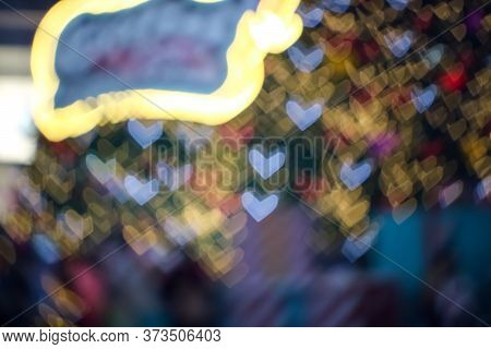 Blur And Bokeh Heart Shape Love Valentine Colorful Night Light Of Shopping Mall