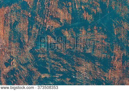 Grunge Metal Texture. Old Blue Metal Surface. Rusty Metal Background With Traces Of Exploitation. Bl