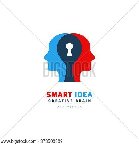Smart Idea Logo Design Isolated On White Background. Vector Illustration. Abstract Mans Heads With K