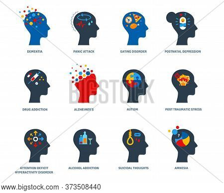 Set Of Psychological Problems Concept Isolated On White Background. Mental Disorders, Illnesses And